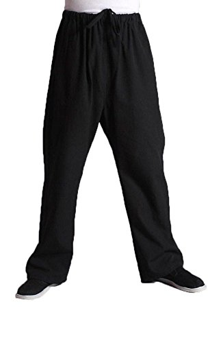 (Men's Martial Arts Pants Kung Fu Cotton Trousers (170/M, Black))