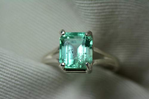 - Certified 2.91 Carat Emerald Ring, Colombian Emerald Solitaire, Sterling Silver Genuine Real Natural Emerald Cut May Birthstone Jewelry er13