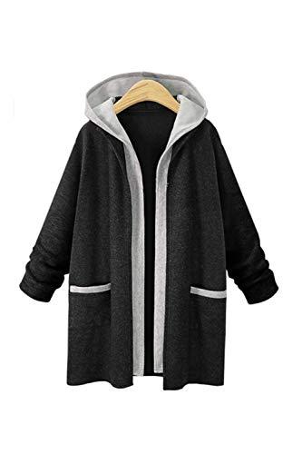 Block Overcoat Color Hoodie Open voor Black Trenchcoats xWgrI8gXn