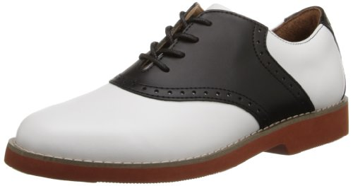 School Issue Women's Upper Class Oxford,White/Black,9.5 M US