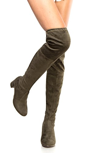 OLIVIA K Womens Thigh High Boots Over The Knee Party Stretch Block Mid Heel Size, Olive Suede, 8.5 B(M) US (Lace Up Stretch Boot)