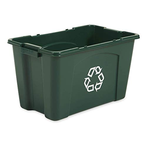 (Rubbermaid Commercial Stackable Recycling Bin, 18 Gallon, Green (FG571873GRN))