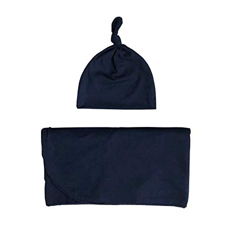 Navy Blue Knit Swaddle Blanket and Newborn -