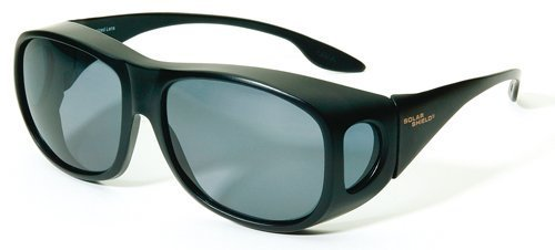 Solarshield wraparound 'Fits-Over' (spectacles) or wear alone sunglasses with Black frame & Grey Polarised lens with soft case. by Solarshield - Frames Wrap Around Spectacle