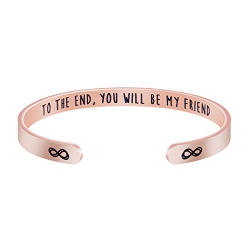 Inspirational Gifts for Women Bangles for Women Cuff Bracelet Motivational Jewelry Silver Stainless Steel Carve to The End You Will Be My Friend