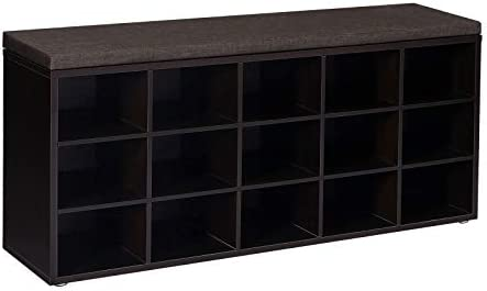 VASAGLE Shoe Bench with Cushion, 15-Cube Storage Bench, Holds up to 440 lb, Espresso ULHS15BR