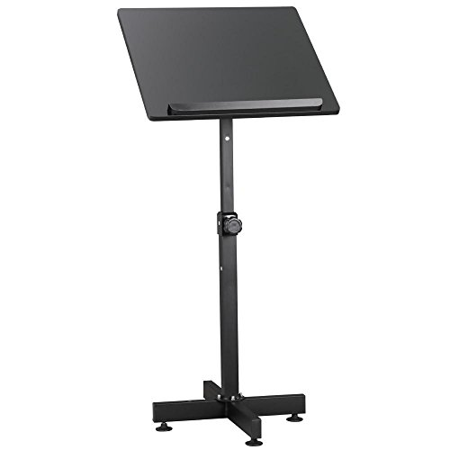 Speaker Lectern Stand (Topeakmart Podium Stand Adjustable Height Free Floor Standing Portable Church Lecture Stand Black)