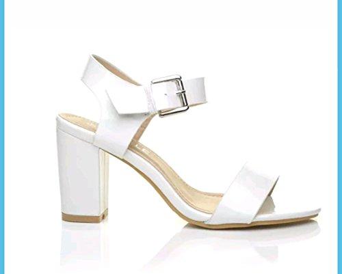 Sintético Arianna's blanco vestir Patent de Sandalias Fashion Material White para de mujer UqU1Y