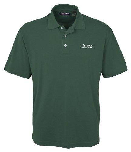 Oxford NCAA Men's Tulane Green Wave 3-Button Polo With Hemmed Sleeves (Hunter, Large)