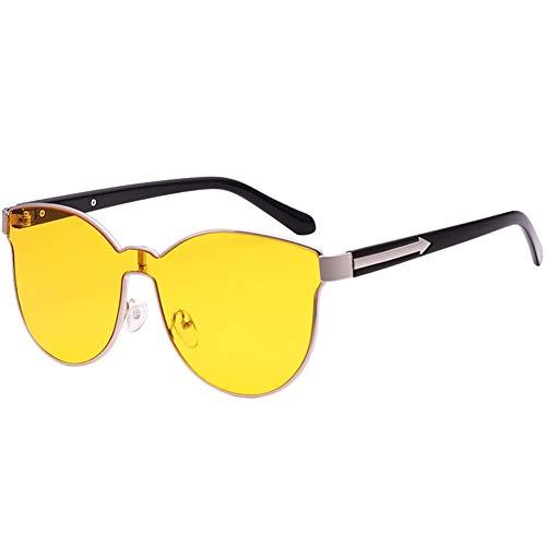 la de unisex de de sol Gafas gafas grandes amarillas NIFG la de caja sol personalidad ZvOR8H