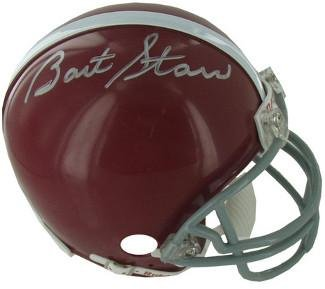 Bart Starr signed Alabama Crimson Tide Replica TB Mini Helmet (gray mask)- Hologram - Steiner Sports ()