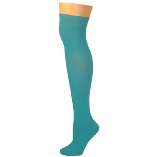 AJs Thick Solid Knee High Tube Socks - Turquoise -
