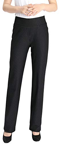 Foucome Dress Pants for Women-Slim Bootcut Stretch High Waist Trousers with All Day Comfort Pull On Style Black - Stripe Bootcut Pants