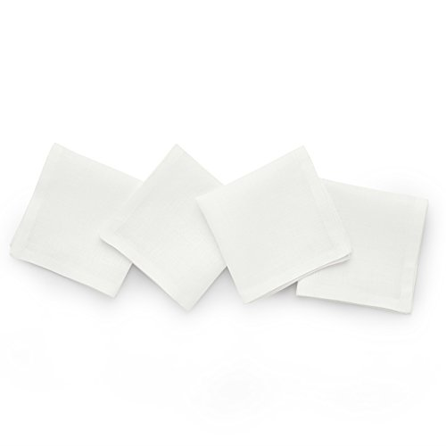 Solino Home Linen Cocktail Napkins - 9 x 9 Inch White, 4 Pack Pure Linen Napkins, Bella - 100% European Flax - Soft and Handcrafted with Mitered Corners