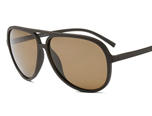 - Polarized Aviator Sunglasses for Men Black TR90 Frame Ultralight Sunshades (Matte Brown, 65)