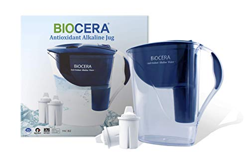 BIOCERA Alkaline Anti-Oxidant Jug Filter (Includes 2 FREE Cartridges - Lasts 4 Months)