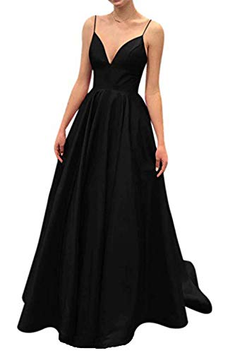 Ri Yun Women's Spaghetti Strap V Neck Prom Dresses Long 2019 Satin A-line Evening Formal Gown with Pockets Black ()