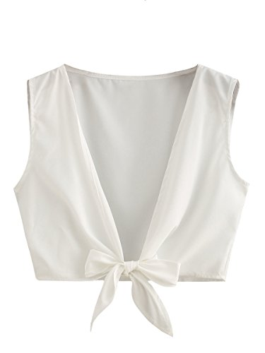 Floerns Women's Summer Knot Front Or V Back Self Tie Crop Top White S ()