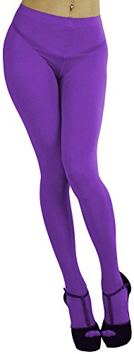 ToBeInStyle Women's Opaque Full Footed Panty Hose Leggings Tights Hosiery - Purple - One Size: Regular