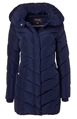 Sportoli Womens Winter Fleece Lined Chevron Quilted Puffer Jacket Coat with Hood - Navy (Size X-Large)