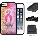 Breast Cancer Awareness Pink Ribbon 2-Piece Dual Layer High Impact Rubber Silicone Cell Phone Case Apple iPhone 5 5s