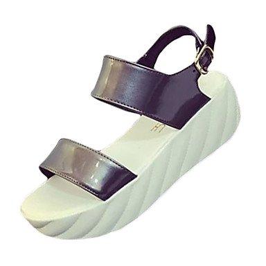 PU UK4 sandalias EU37 Casual Plata Otros CN37 de Blanco Negro 5 5 5 Hebilla sandalias de 7 tacón verano La mujer US6 cuña zgwUHH