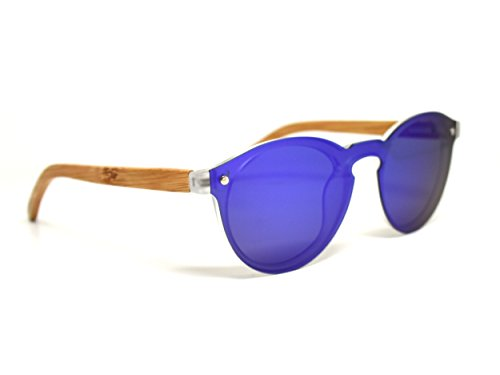 Round Reflective Wood Sunglasses Bamboo For Women & Men with Special One Piece Style Blue Mirrored Polarized Lens and with Wood - The What Protect To Your Best Sunglasses Are Eyes