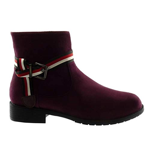 Block Wine Boots Shoes Ankle Fashion Buckle Angkorly Tricolour Biker Thong Trendy 3 Women's cm Booty Heel wx4ZIqUP