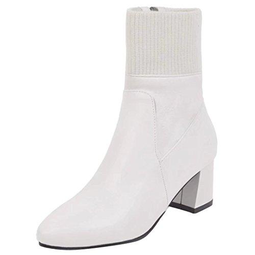 AIYOUMEI Damen Winter Blockabsatz Flickwerk Stiefeletten mit Gewirke und 6cm Absatz Modern Ankle Boots Weiß
