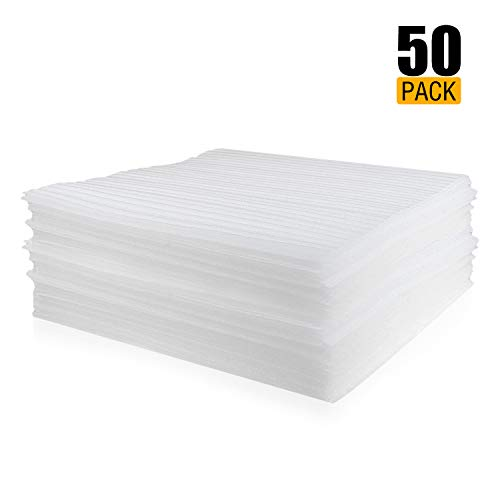 """50-Count Packing Supplies Cushion Foam Sheets Safely Wrap to Protect Dishes China Glasses Plates Fragile Items for Moving Boxes 12"""" x 12"""""""