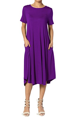 amp; A Long TheMogan amp; Plus W Pockets Short Dress Sleeve Purple Midi Fit Flare line Women 8xwXXapqA