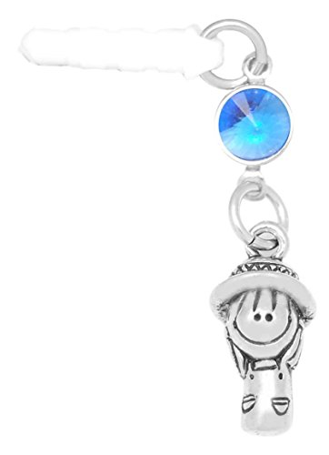 Clayvision Happy Garden Girl Phone Charm with Sapphire Colored Crystal Sept White Plug