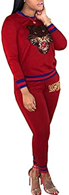 d42750eec36df Women's Casual Jumpsuits 2 Pieces Outfits Crewneck Long Sleeve Tiger ...