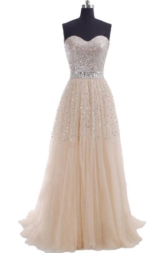 Emma Y Exquisite Sweetheart Tulle Long Prom Dress Party Gowns-US Size 14 Champagne