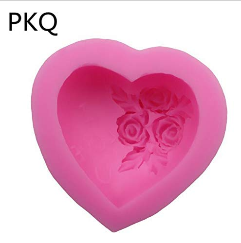 1 piece 3D Silicone Cake Mold Heart Love Rose Flower Chocolate Mould Candle Polymer Clay Molds Crafts DIY Forms For Soap Base Tool 3.24