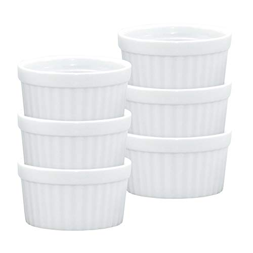 (HIC Ramekins, Fine White Porcelain Souffle, 3-Inch, 3-Ounce Capacity, Set of 6)