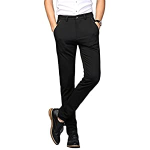Plaid&Plain Men's Stretch Dress Pants Slim Fit Skinny Suit Pants