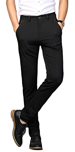 (Plaid&Plain Men's Stretch Dress Pants Slim Fit Skinny Suit Pants 7104 Black 32W30L)