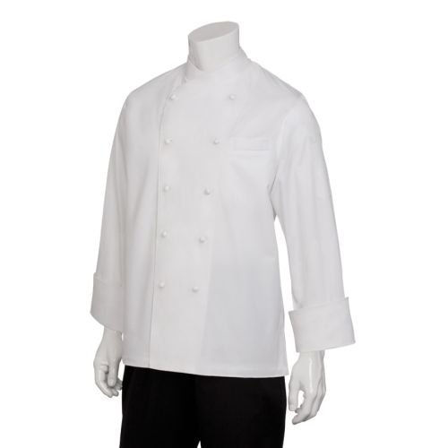 Chef Works ECCW-WHT Milan Egyptian Cotton Chef Coat, White with White Piping, Size 52 by Chef Works