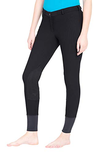 (TuffRider Ladies Ribb Lowrise Knee Patch Regular Breeches Black 26 EU )