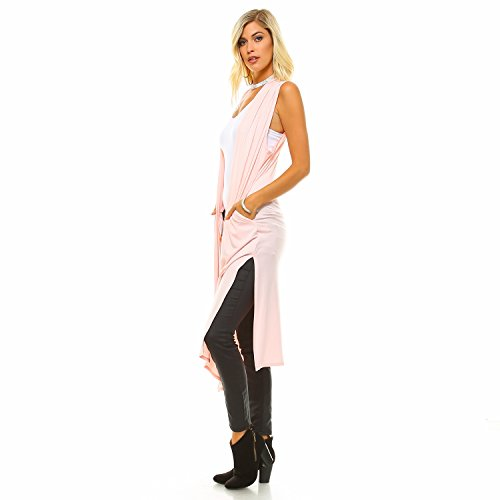 Isaac Liev Women's Long Open Front Cardigan Vest with Pockets and Side Slit (Medium, Blush)