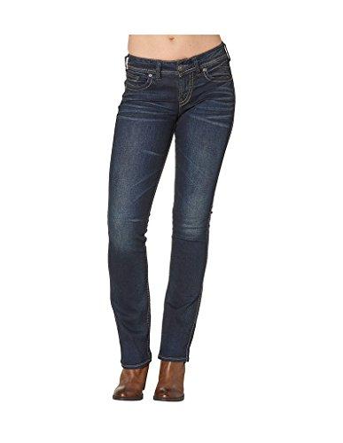 Womens Slim Boot (Silver Jeans Women's Suki Curvy Fit Mid Rise Slim Bootcut Jeans, Dark Indigo Rinse, 33x33)