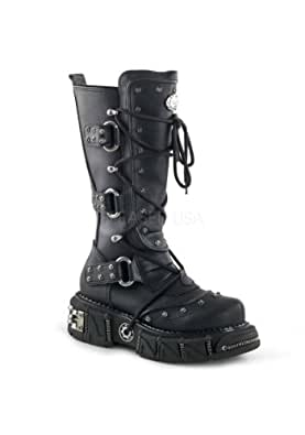 Demonia 12 1/2 Inch Tall, Unisex Veggie Boot (Black PU;9)