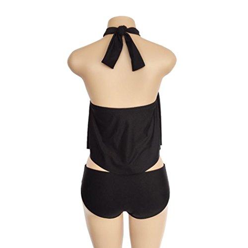 Couleur Pure Sexy Élégant Mode Bain Push Femmes Cou Bikini Noir up Adeshop Slim Sling Bandage Beachwear De 2018 Amincissant Chic Maillot Monokini Plage New Trikini Suspendu qxwFptqE