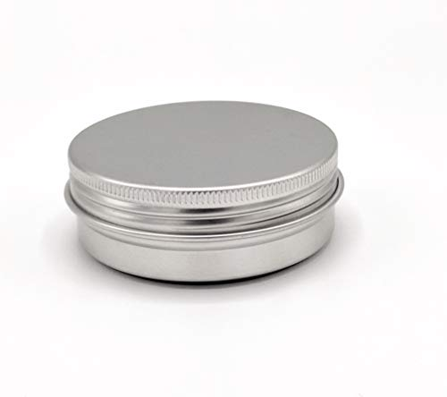 2 oz Metal Steel Tin Flat Container with Tight Sealed Twist Screwtop Cover (15 Ct) ()