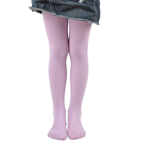 - Leg Elegant Girls Microfiber Soft Opaque Solid Colored Footed Tights (8-10, Light Purple)