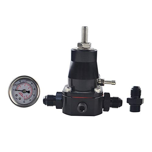 Turbocharger Parts High Pressure Fuel Regulator Square Supercharger Vehicle with Gauge Car Accessories AN6 Connector Conversion Car Modification: