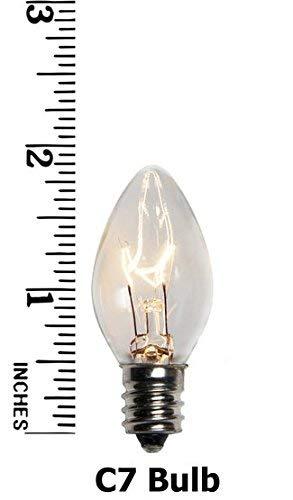 Goothy Christmas Lights 25 Pack C7 Outdoor String Light Replacement Bulbs, C7/E12 Candelabra Base, 5 Watt-Clear