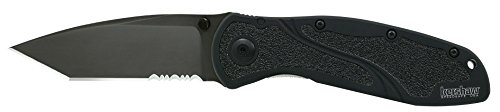 Kershaw Tanto Serrated Blur Knife with SpeedSafe (Tactical Black)