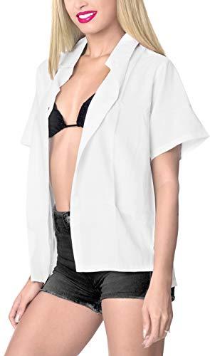 La Leela LA LEELA Rayon Hawaiian Blouse Women Wedding Shirt White 732|L - US 38 - 40D price tips cheap